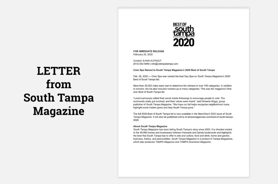 Letter from South Tampa Magazine
